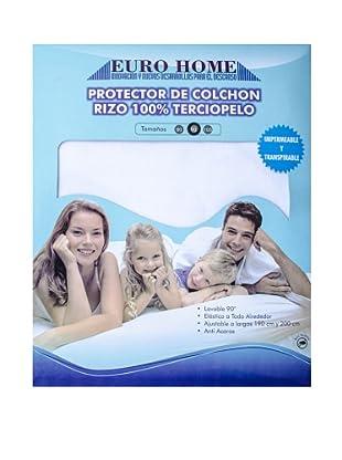 Euro Home Protector de Colchón Terciopelo (Blanco)