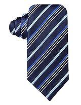 Geoffrey Beene Men's Silk Blend Neck Tie, Satin Stripe, Navy Blue