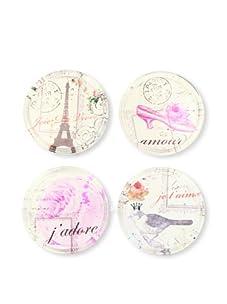 "Rosanna Set of 4 Bella Boudoir Coasters, Assorted, 4"""