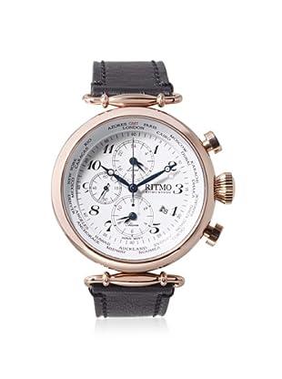 Ritmo Mundo Men's 704/3 RG Black/White Corinthian World Time Leather Watch
