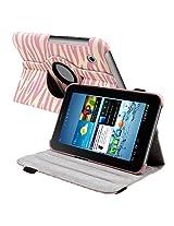 eForCity 7-Inch 360-Degree Swivel Leather Case for Samsung Galaxy Tab 2, Pink Zebra (PSAMGLXTLC51)