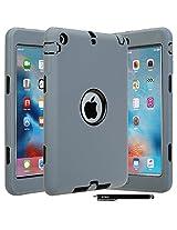 E LV iPad Mini Case - Dual Layer Hybrid Armor Protection Defender Case Cover for Apple iPad Mini / iPad Mini 2 / iPad Mini 3 with 1 Stylus and 1 Cleaning Cloth - GREY/BLACK