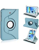 GB 360 Rotating PU Leather Stand Case For Samsung Galaxy Tab3 7.0 P3200 Light Blue