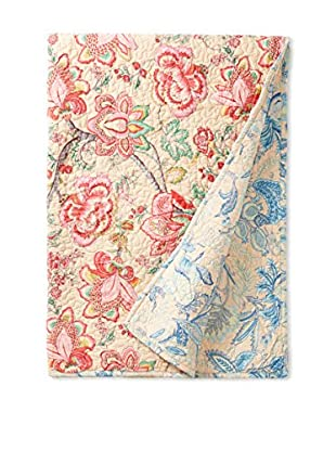 North Rodeo Collection Floral Block Hand Stitched Throw, Beige/Blue