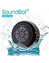 SoundBot® SB517FM FM RADIO Bluetooth Wireless Speaker Handsfree Portable Speakerphone w/ Military Grade IPX Level 7 Total Waterproof, 3W Speaker Output, 6hrs Wireless Music Streaming Playback Time, 40mm Speaker Driver, Built-In Rechargeable Battery, Dust-proof, Built-in Mic, Control Buttons, Detachable Suction Cup for Pool, Boat, Car, Beach, Bathroom, Bedroom, Kitchen, Indoor & Outdoor Use (Black/Black)
