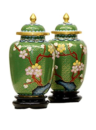 Dynasty Gallery Set of 2 Traditional Cloisonné Art Jars with Lid (Green)