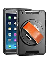 iPad Air Case, Case-Cubic 360 Degree Rotatable [Shock Proof] Extreme Heavy Duty Full Body Rugged Hybrid Case with Stand, Leather Hand Strap, a HD Screen Protector (iPad 5)
