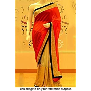 Bollywood Replica Model Pure Georgette and Net and Velvet Saree In Red and Gold Colour NC543