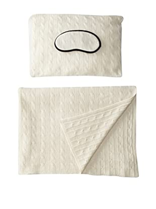 Sofia Cashmere Emilia Cable Knit Travel Set (Ivory)