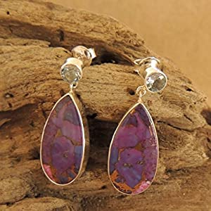 Flames of The Forest Blue Topaz and Purple Turquoise set in Sterling Silver Earring