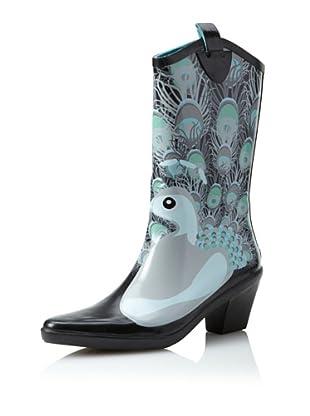 däv Women's Cowboy Rain Boot (Peacock White)