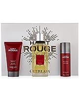 Guerlain Habit Rouge Gift Set for Men (Eau de Toilette Spray, Deodorant Spray, Shampoo)