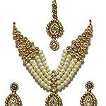 white Pearl Base Metal Traditional Designer Bridal Traditional White Kundan Jewellery Set maang tika
