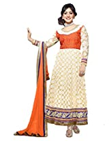 Rich Cream and Orange Long Anarkali Semi Stitched Suit Material