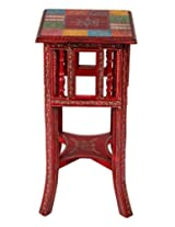 Limited Red Wood Stool Floral Hand Painted By Rajrang