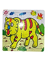 DCS Animal Block Board Wooden Tiger Puzzle (6X6 IN)