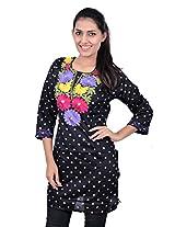 Kala Sanskruti Women's Cotton Silk Black Kurti
