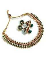 Divinique Jewelry Gorgeous Green Copper Polki necklace set for Women
