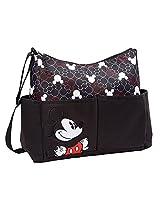 Disney Mickey Mouse Printed Mickey Heads Hobo Diaper Bag, Black/White