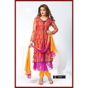 Semi Stitched Pink And Yellow New Designer Jacket Style Anarkali Suits