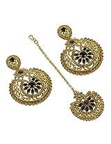 Exclusive Golden Polished & Black Stone Added Polki Earrings With Maang Tikka For Women Wedding Jewelry