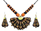 DollsofIndia Wooden Bead Necklace with Hand Painted Fan Shaped Terracotta Pendant and Earrings - Terracotta and Wood - Black
