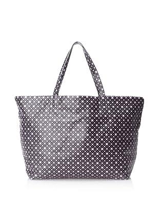 MARNI Women's Reversible Multi-Print Shopping Bag, Black/White/Lilac