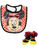 Baby-Girls Infant Minnie Mouse Wipeable Bib and Bootie Set