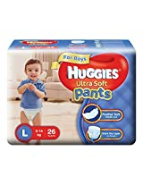 Huggies Ultra Soft Pants Large Size Premium Diapers for Boys (White, 26 Counts)