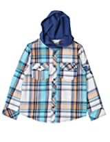 Beebay Boys Blue Check Hooded Shirt (B0215201020817_Blue Check_11Y)