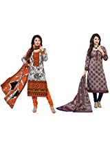 Rajnandini Combo of cotton Printed Unstitched salwar suit Dress Material (Green & Blue _Free Size)