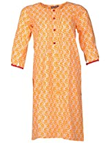 Bunkaari India Women's Cotton Regular Fit Kurti (00LK 13_44, Orange and white, 44)