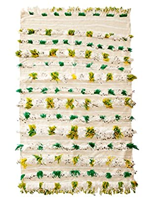 Vintage Berber Wedding Rug, Creme/Green/Yellow, 3' 3