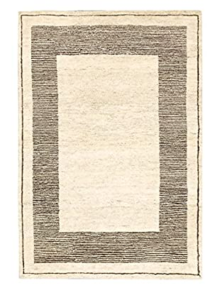 eCarpet Gallery One-of-a-Kind Hand-Knotted Royal Maroc Rug, Cream/Dark Brown, 4' x 5' 10