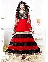 Zarine Khan Kali Designer Red And Black Anarkali Suit