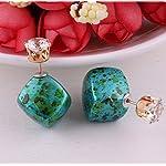 Green Stone Design Double Stud Earring