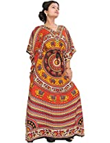 Exotic India Kaftan with Printed Elephants and Dori at Waist - Color Red And YellowGarment Size Free Size