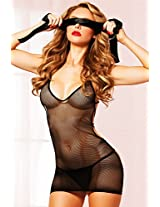 Seven Til Midnight Women's Why Knot Fishnest and Rope Chemise and Satin Ribbon, Black, One Size