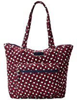 Tommy Hilfiger Zip Pockets Tote,Red/Navy Tommy T Print,One Size