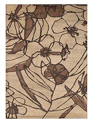 Floral Sketch Rug, Tan/Brown, 5' x 8'