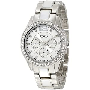 XOXO Women's XO5479 Silver-Tone And White Bracelet With Rhinestones Bezel Watch