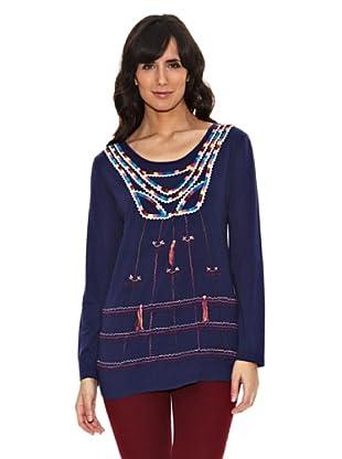 Janis Camiseta Bordados Multicolor (Azul Marino)