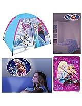 Disney Frozen 3 Piece Indoor / Outdoor Kids Camp Set - Play Tent, Plush Blanket & Night Light
