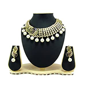 9blings Peacock style clear white kundan cz pearl gold tone necklace earring Set for Women rn28