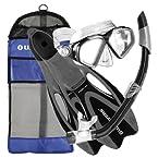 U.S. Divers Adult Cozumel Mask/Seabreeze II Snorkel/Proflex Fins/Gearbag Black/Small 5-6.5