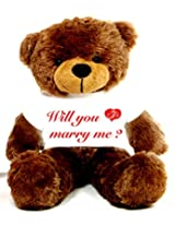 2 Feet Big Brown Teddy Bear wearing a Will You Marry Me Engagement Ring T-Shirt