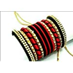 Red n black silkthread n stone Fashion Bangle set of 11 2:6 size available