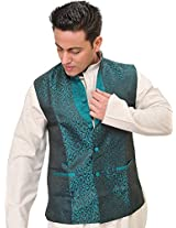Exotic India Jacquard-Woven Banarasi Waistcoat with Floral Weave in Self - Color Fanfare GreenGarment Size XX-Large
