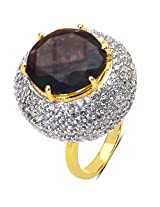10.60 Grams Purple Glass & White Cubic Zirconia Gold Plated Brass Ring