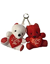 Pack Of Two Mini Red And White Teddy Bear Keychains With Red Heart Pillow Ideal For Valentines Day